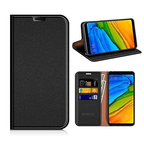 MOBESV Xiaomi Redmi 5 Plus Hülle Leder, Xiaomi Redmi 5 Plus Tasche Lederhülle/Wallet Hülle/Ledertasche Handyhülle/Schutzhülle mit Kartenfach für Xiaomi Redmi 5 Plus - Schwarz