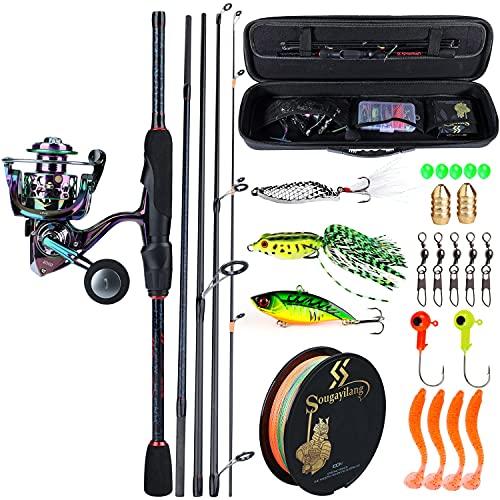 XUSHI 5 Secciones 1.8-2.4m Cebo caña de Pesca 13+ 1BB Color Spinning Reel Bag Bait Line Bag Set Pesca Conjunto Completo (Bundles : 2.4M Rod-2000 Reel, Color : Fishing Full Kit)