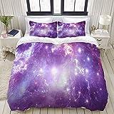 Juego de Funda nórdica, Reflection Nebula Site Star Formation Radia, Colorido Juego de Cama Decorativo de 3 Piezas con 2 Fundas de Almohada