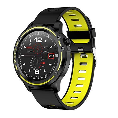 Sixcup L8 SmartWatch,1,2 Pollici Full Fit HD Schermo Rotondo IP68 Impermeabile cardiofrequenzimetro Salute Sport Bracciale Tracker per Il monitoraggio del Sonno della Pressione sanguigna, Giallo
