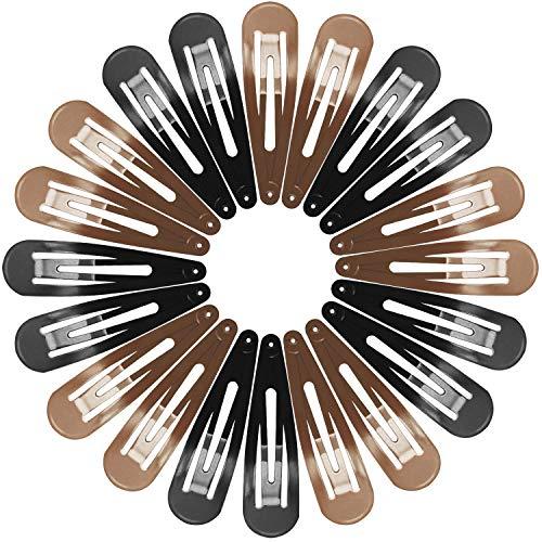 Haarspangen für Damen Mädchen, Funtopia 40 Stück 7cm Lange Snap Haarclips Groß Metall Haarklammern, 2 Farben mit je 20 stk (Braun & Schwarz)