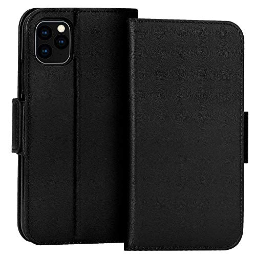 """FYY Case for iPhone 11 Pro Max 6.5"""", Luxury [Cowhide Genuine Leather][RFID Blocking] Wallet Case, Handmade Flip Folio Case with [Kickstand Function] and[Card Slots] for iPhone 11 Pro Max 6.5"""" Black"""