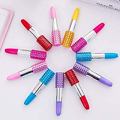 Lipstick Shape Pen, SunAngel 12 PCS Creative Ballpoint Writing Pens Multi-Color Lipstick Cute Ball Pen Novelty Office Stationery Students Children