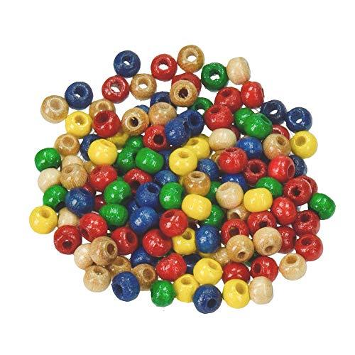 efco - Cuentas (madera, diámetro: 14 mm, orificio de 3,0 mm, 20 unidades), varios colores , color/modelo surtido