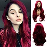 Red Lace Front Wigs for Women Best Long Fashion Burgundy Water Wavy Soft Wig with Baby Hair Glueless Natural Hairline Synthetic Hair Wig Heat Resistant Fiber Drag Queen Halloween Cosplay Costume Wig
