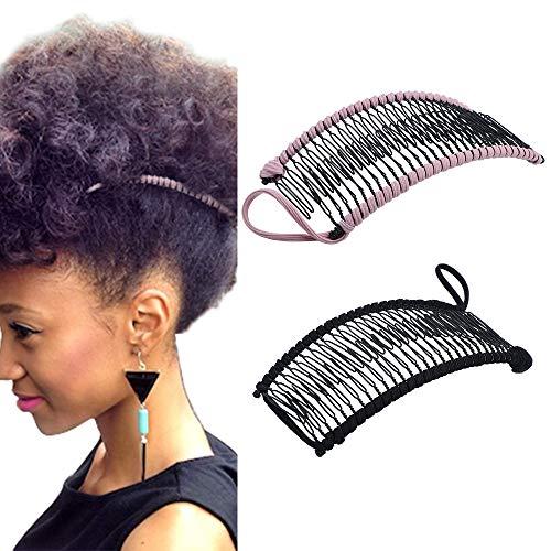 2 Stücke Vintage Bananen Haarspangen Dehnbar Haarschmuck 30 Zahn Bananenkamm Clips für Dickes Wellenförmiges Verworrenes Natürlich Lockiges Haar (Schwarz/Rosa)