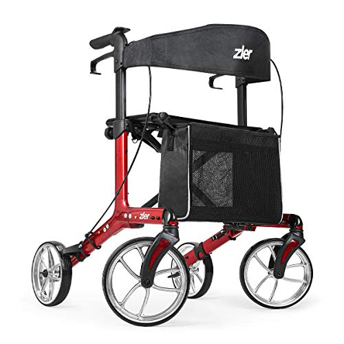 Zler Rollator Walker for Seniors 300 lb, Premium Folding Rollator Walker with Seat and Big Wheels, Easy Folding for Transport and Storage(Red)