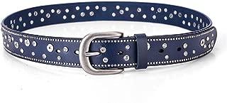 JJXSHLFL Fashion Trend Ladies Belt Leather Rivet Rhinestone Inlaid pin Buckle Belt Casual Wild Pants Belt Women (Color : Blue, Size : 110cm)