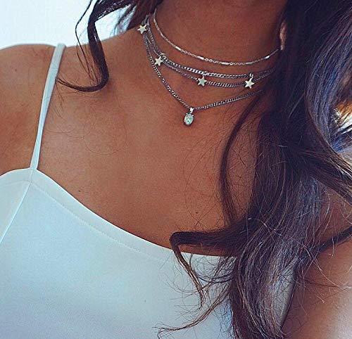 Jovono argento multistrato collana girocollo stella nappa opale pendente collana catena di gioielli per donne e bambine (SET1)