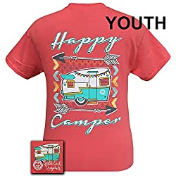 Girlie Girls Happy Camper Coral Preppy Short Sleeve T-Shirt - YOUTH