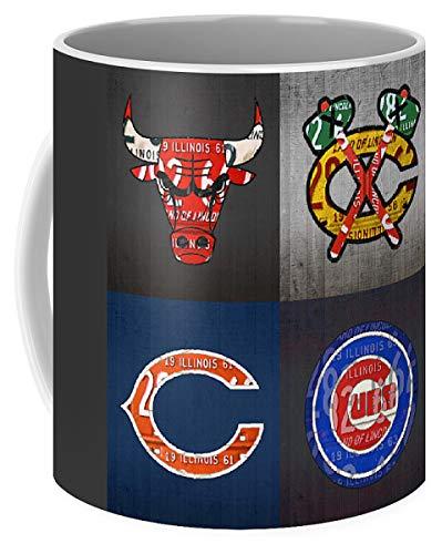 Lplpol Chicago Sports Fan recycelte Vintage Illinois Nummernschild Art Bulls Blackhawks Bears and Cubs Kaffee Tee Tasse 313 ml