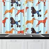 ZANSENG Cortinas Opacas para Cocina Ojetes Habitación con Aislamiento térmico Perros Conjunto Cortinas de patrón para Sala de Estar, 2 Paneles de Cortina de Ventana