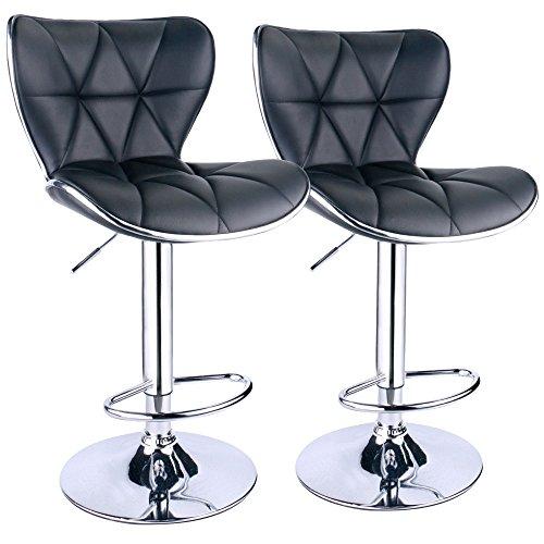 Back Adjustable Swivel Bar Stools, PU Leather Padded with Back, Set of 2 (Black)