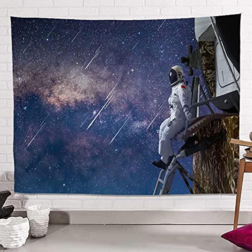 KHKJ Tapiz de Astronauta y arcoíris Mandala Hippie Tapiz de Encaje Tapiz Decorativo Bohemio para Colgar en la Pared Mural Decorativo de la NASA A11 200x180cm