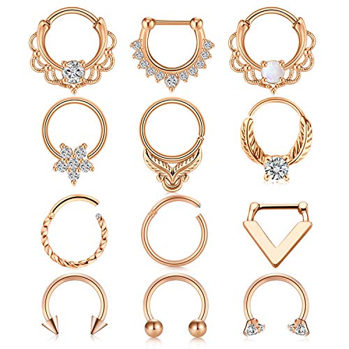 Anicina Pretty Nose Rings 16G Stainless Steel Nose Hoops Cubic Zirconia Septum Clicker Ear Tragus Helix Conch Earring Body Piercing Jewelry