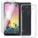 HYMY Hülle für LG K50S Smartphone + 3 x Schutzfolie Panzerglas - Transparent Schutzhülle TPU Handytasche Tasche Durchsichtig Klar Silikon Hülle für LG K50S (6.5