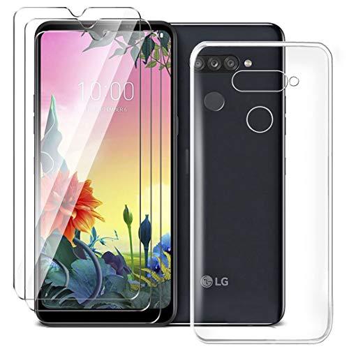 HYMY Hülle für LG K50S Smartphone + 3 x Schutzfolie Panzerglas - Transparent Schutzhülle TPU Handytasche Tasche Durchsichtig Klar Silikon Case für LG K50S (6.5