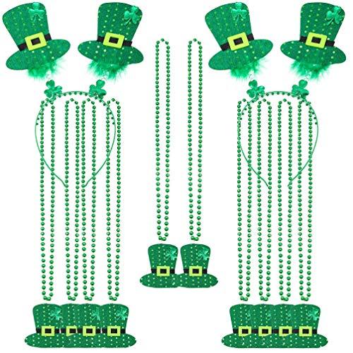 Happyyami 12 Piezas de Diadema para El Da de San Patricio Collar de Tela Verde Trbol Peludo Sombrero Boppers Collar de Cuentas Accesorios para El Cabello Suministros para Fiestas