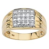 Men's 18K Yellow Gold over Sterling Silver 1/4 cttw Round Diamond Grid Ring (IJ Color, I3 Clarity) Size 9