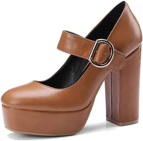 YTTY YTTY Talon épais Talons Hauts Boucle Bas Chaussures Plate-Forme Imperméable à l'eau Chaussures Nude Chaussures de Grande Taille, Jaune, 34  bonnes offres