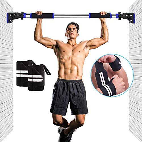 Pull Up Bar Doorway Chin up Bar No Screw Installation with Bonus Wrist Straps