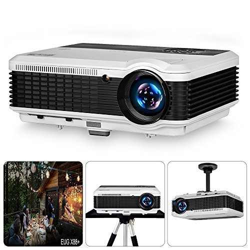 EUG LCD Digital HD Video Projector 1080P Support 1280x800 Native Wxga 4600 Lumen Multimedia Home Theater TV Projectors Indoor Outdoor, HDMI/USB/VGA/Ypbpr/RCA Audio/Zoom/Keystone/Speakers