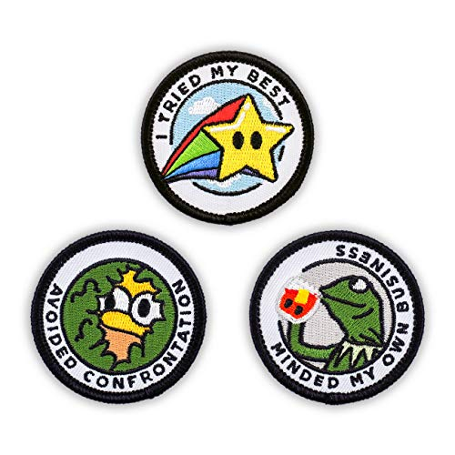 """Winks For Days Adulting Merit Badge Embroidered Iron-On Patches (Funny - Set 1) - Includes Three (3) 2"""" Patches: Avoided Confrontation, I Tried My Best, and Minded My Own Business"""