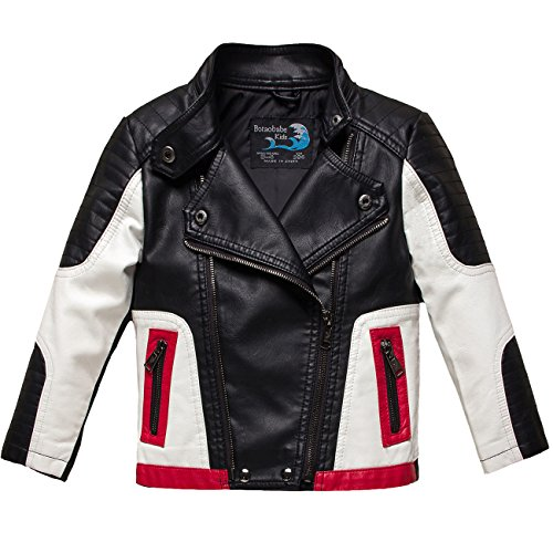 Botaobabe Boys Stand-up Collar Faux Leather Jacket Kids Costumes Black Size 14