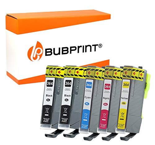 Bubprint 5 Druckerpatronen kompatibel für HP 364XL 364 XL für Deskjet 3520 Officejet 4620 7515 Photosmart 5510 6510 6520 7510 B109a B210a C309g C310a