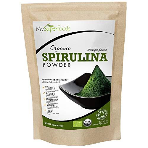 Poudre de Spiruline Bio (500g), MySuperFoods, Enrichis en protéines, calcium et vitamines, Riches en nutriments, La meilleure qualité qui soit, Certifiés biologiques par la Soil Association