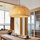15 Inch Bamboo and Rattan Chandelier Hand-Woven Pendant Light Ceiling Light Chinese Style Chandelier Suitable for Restaurant Kitchen, Dining Room, Bedroom, Study 110V