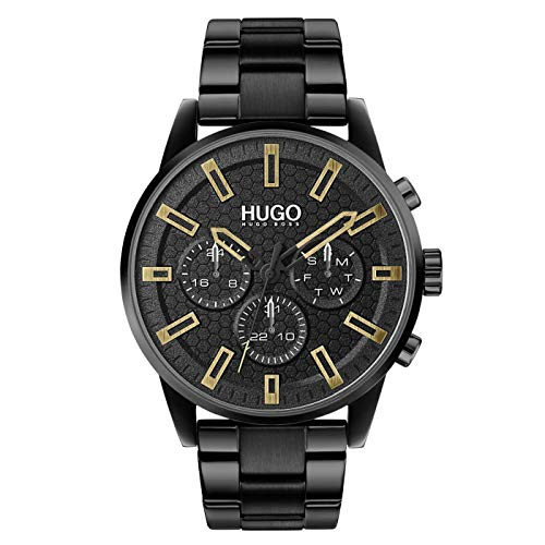 HUGO Herren Analog Quarz Uhr mit Edelstahl Armband 1530177