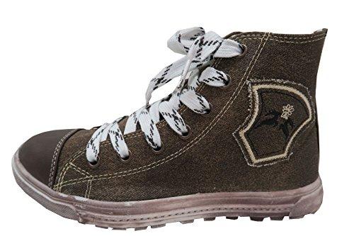 Maddox Country Trendige Herren Sneaker Fredl Dunkelbraun aus Leinen mit Used Look Sohle, Trachten Schuhe, (40)