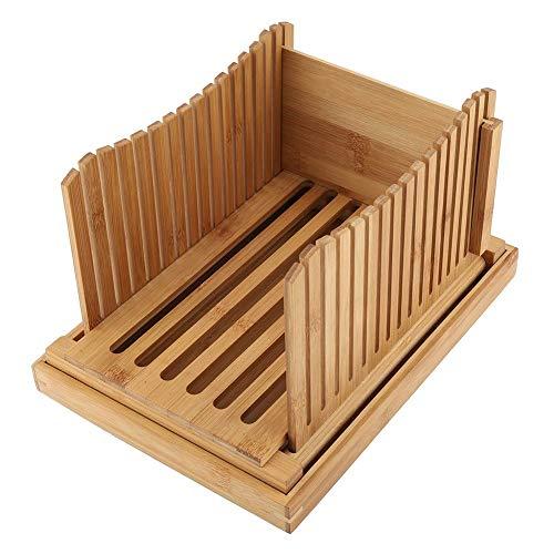 Rebanadora de Pan de Bambú Plegable con Bandeja de Captura de Migas, Guía de Rebanado de Pan, Tabla de Corte Cortadora...