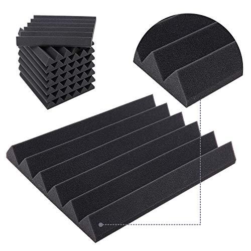 Paneles Acústicos Espuma Acústica, Ohuhu 24 Planchas Paneles Acústicos para Estudios, Paneles Absorbentes Acústicos con Diseño Clásico, Dimensiones 40,5 X 30,5 X 5 cm