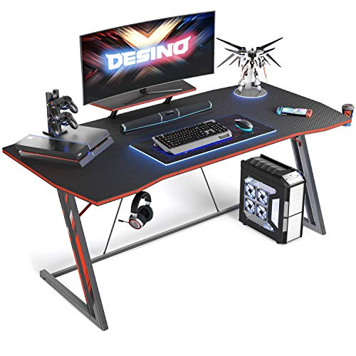 DESINO Gaming Desk 55 inch PC Computer Desk, Home Office Desk Gaming Table Z Shaped Gamer Workstation with Cup Holder and Headphone Hook, Black