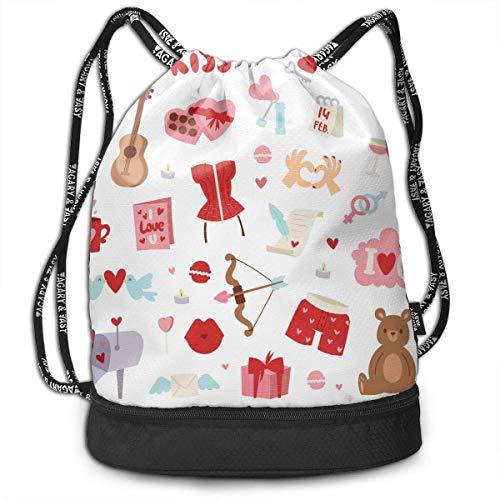 wwoman Mens Women Drawstring Bag Diebstahlsichere Lightweight Beam Bag, Reisen Schulter Rucksack - Valentinstag Muster Wasserdichter Rucksack Fußball Basketball Bag