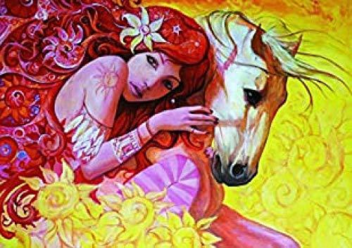 Yzqxiongtu Meisje slaapt op paard Puzzelspeelgoed 1000 stukjes, houten entertainmentpuzzel, kinderen Educatieve spelletjes Verjaardagscadeautjes