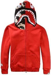 Fashion Zip Hoodie Men Shark Head Full Zip Sweatshirt Jacket Outdoor Hip-Hop Funny Tops