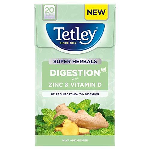 Tetley Super Herbals Digestion Mint & Ginger Tea Bags, 20 pk