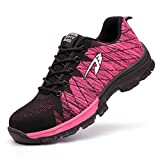 Zapatos de Seguridad Hombre Mujer Ligero Calzado de Trabajo Zapatillas con Punta Acero Industrial y Deportiva Transpirable Seguridad Cómodas Antideslizante Anti Aplastamiento Pink38