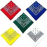 Q4 Set di 5 bandane Paisley; Bandane Paisley in Morbido Cotone Poli/Sciarpa Testa/Polsino/Sciarpa Viso/Fascia per Uomo e Donna. 5 Colori