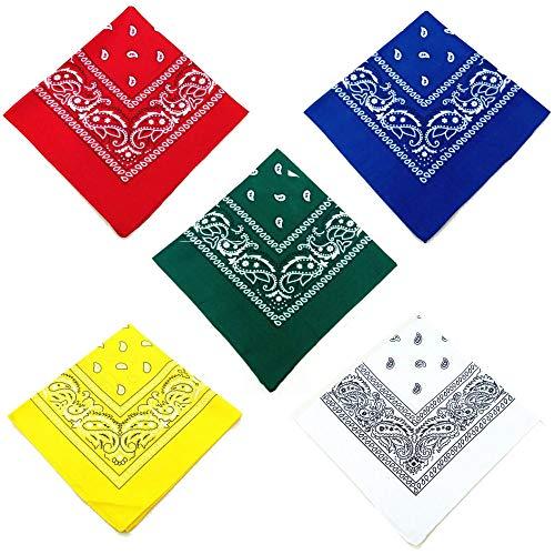 Q4 Set mit 5 Paisley Bandanas; Weiche Paisley-Bandanas aus Poly-Baumwolle/Kopftuch/Armband/Gesichtsschal/Stirnband für Männer und Frauen. 5 Farben