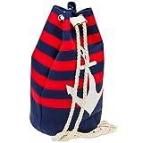 Caspar TS1043 Damen XXL Canvas Baumwoll Strandtasche Rucksack Seesack Shopper mit ANKER, Größe:One...
