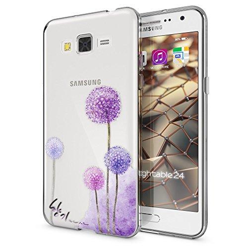 NALIA Custodia compatibile con Samsung Galaxy Grand Prime, Cover Protezione Silicone Trasparente Sottile Case, Gomma Morbido Cellulare Ultra-Slim Protettiva Bumper Guscio, Designs:Dandelion Pink Rosa