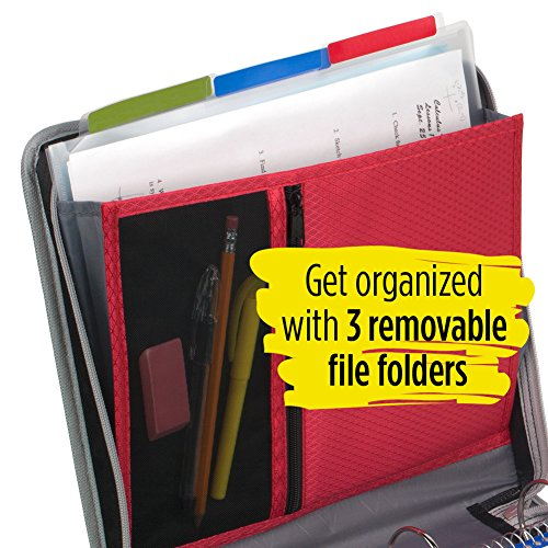 Five Star 2 Inch Zipper Binder, 3 Ring Binder, Removable File Folders, Durable, Red (73283) Photo #5