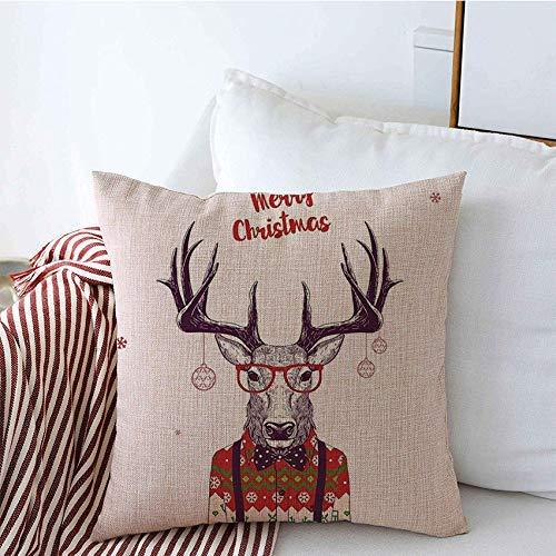 GWrix Fundas de Almohada Decorativas Año Navidad Nerd Hipster Line Divertido Deer Beauty Fashion Poster Print con Drawn Holidays Doodle Square Pillow Case para Sofá Sofá