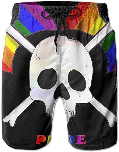 Jhonangel Pantalones Cortos de Secado rápido con Pantalones 2XL de Pantalones de Secado rápido con Tabla de Surf de Gay Pride Skull Man Summer