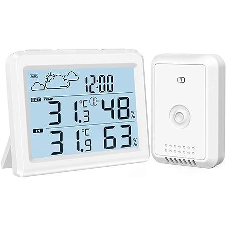 最新版 AMIR デジタル温度計湿度計 外気温度計 ワイヤレス 温度湿度計 室内室外 高精度 LCD大画面 外部センサー付き 気象ステーション付き バックライト付き 最高最低温湿度 快適レベル 温度と湿度傾向図表示 置き掛け両用 天気予報 時刻表示 温室 ペット 華氏/摂氏表示 温度管理 健康管理 見やすい おしゃれ アラームクロック 白 ペット ホワイト