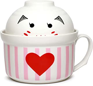 Cute Microwavable Ceramic Noodle 2 Bowls Set with Handle And Smiling Bowl Lid Porcelain (RedHeart)
